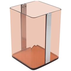 Smoked Lucite Paper Waste Basket for Roche Bobois, France, circa 1970s