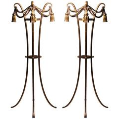 Pair of Rope and Tassel Italian Gold Jardinière Plant Stands