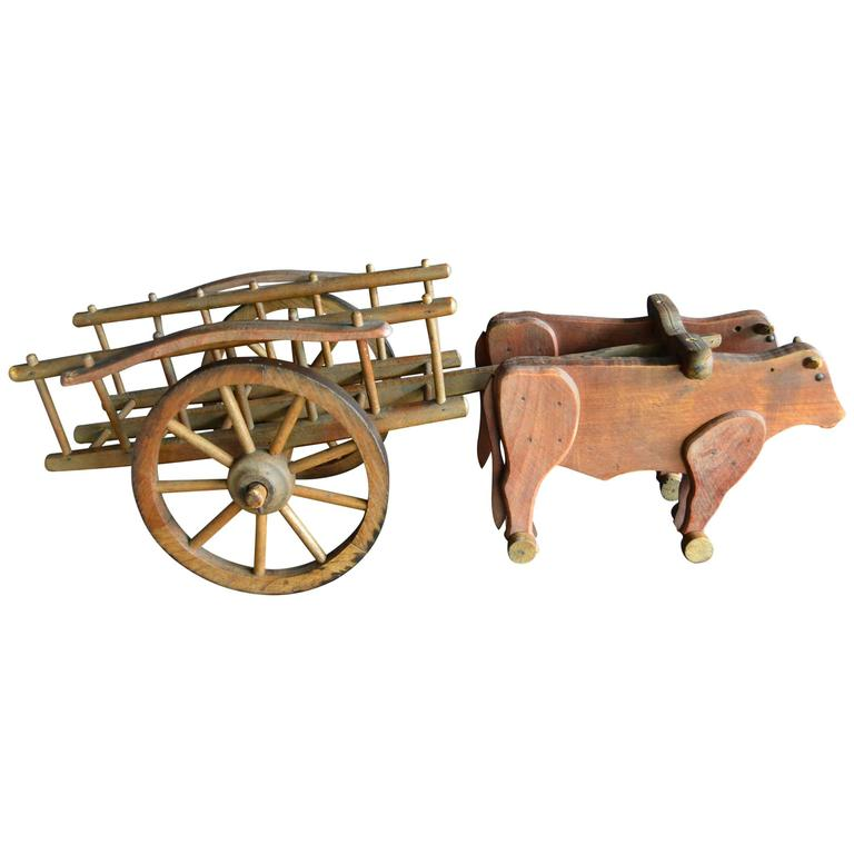 1930s  French Wooden Pull Toy Oxcart by Déjou