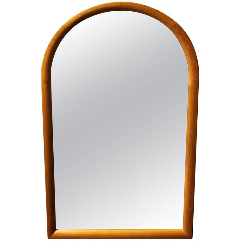 Danish Modern Oval Top Teak Mirror by Jesper