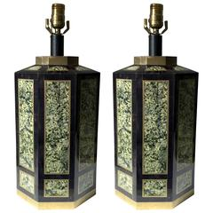 Pair of Tessellated Stone Lamps by Maitland-Smith