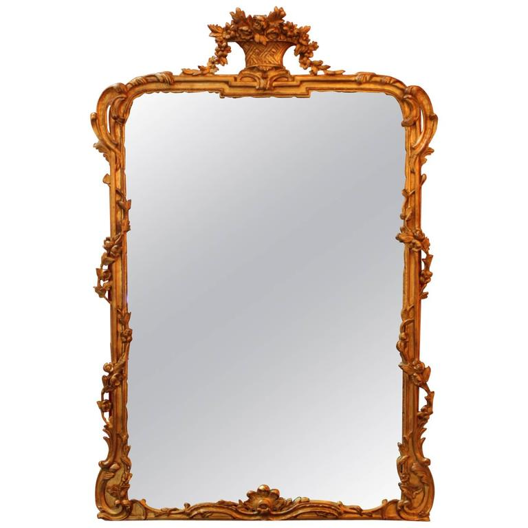 1eedcc1c7fe9 Large Giltwood Louis XV Style Mirror at 1stdibs