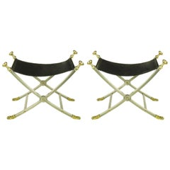 Pair of Maison Jansen Black Leather, Brass and Brushed Nickel Benches