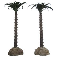 Large Pair of Tole Painted Palm Trees