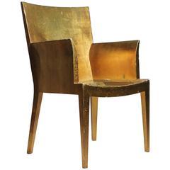 Vintage Karl Springer JMF Applied Gold Leaf Armchair (Gilt)