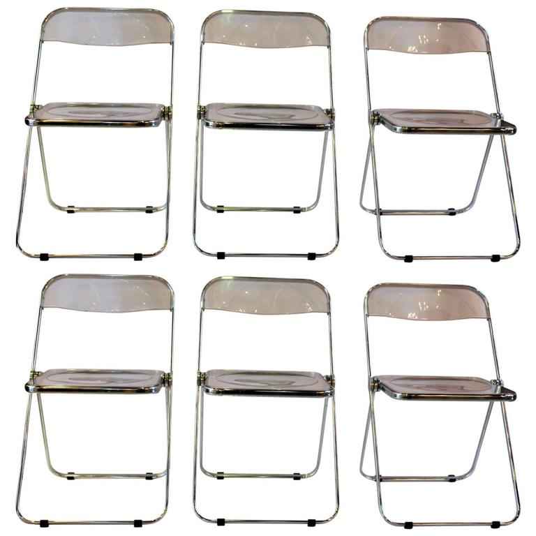 Set Of Six Lucite And Chrome Italian Folding Chairs For Sale