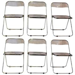 Set of Six Lucite and Chrome Italian Folding Chairs