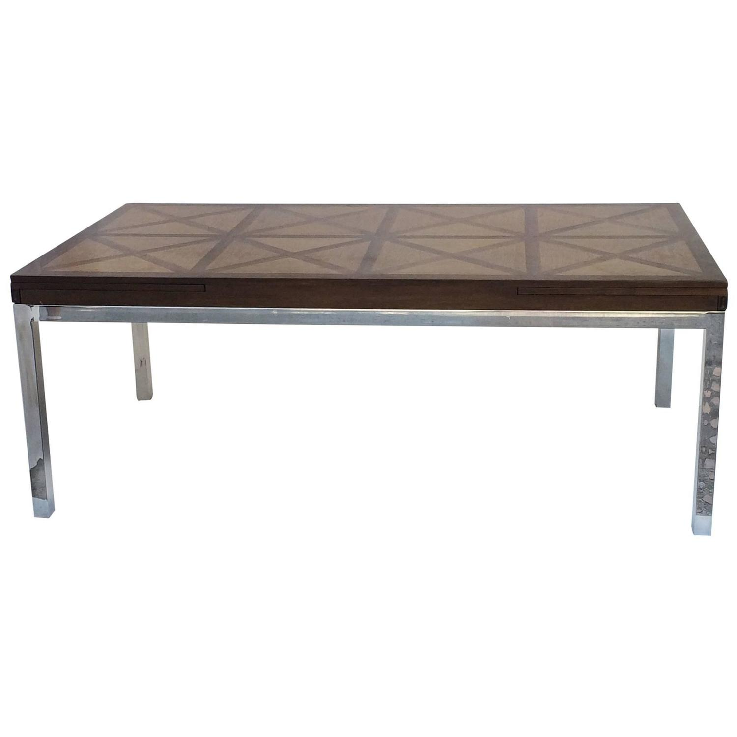 Parquetry Inlaid Wood Dining Table Chrome Base For Sale at  : 5092073z from www.1stdibs.com size 1500 x 1500 jpeg 49kB