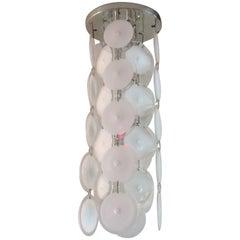 Vistosi Murano Pendant Chandelier Handblown White Disks