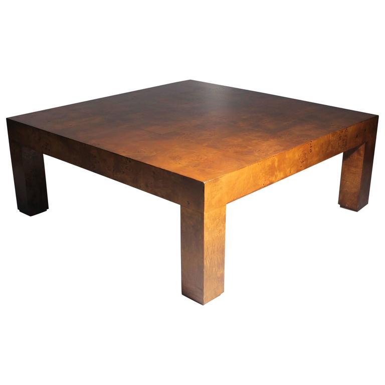 Milo Baughman Burl Patchwork Parsons Coffee Table For Sale At 1stdibs