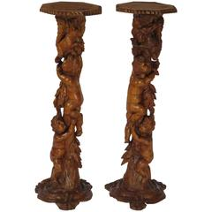 Two Baroque Italian Carved Wood Urn Stands/Torchers, circa 1760