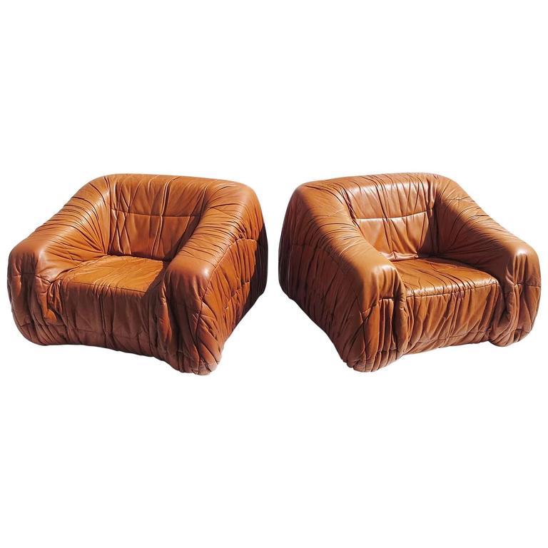 """Leather """"Piumino"""" Club Chairs by De Pas, D'urbino and Lomazzi for Dell'Oca, 1970"""