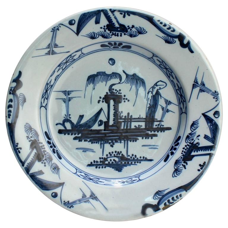 Antique 18th Century Dutch Delft Chinoiserie Decorated Tin Glazed Plate