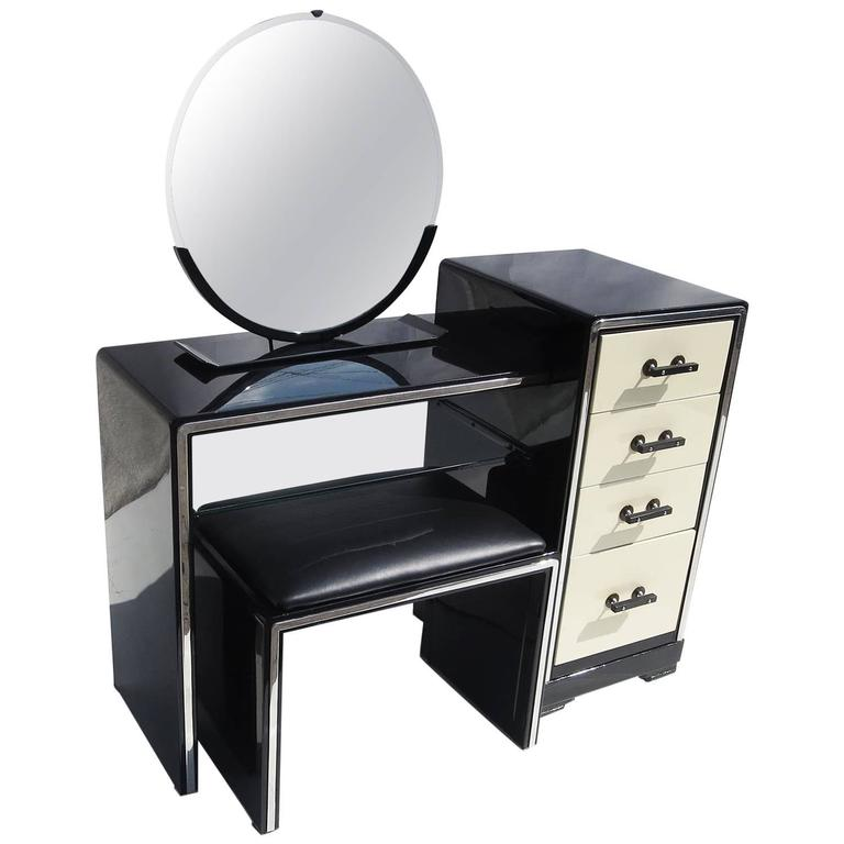 Norman Bel Geddes Art Deco Vanity Dressing Table, Seat And Mirror For  Simmons For Sale