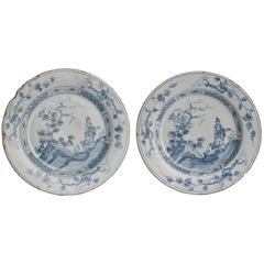 Pair of 18th Century Blue and White English Delft Plates