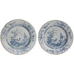 Paar 18. Jahrhundert Blau-Weiße Englische Delfter Keramik Teller