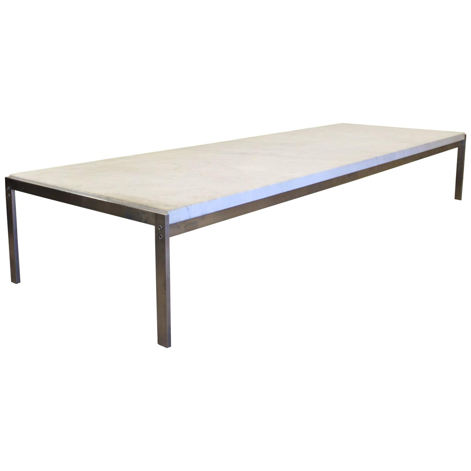 Brushed Gold White Marble Rectangular Coffee Table: Large PK-62 Marble And Brushed Steel Coffee Or Side Table