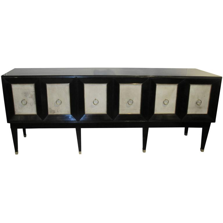 Ebonized Parchment Sideboard on Tapered Legs For Sale