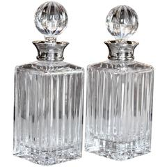 Pair of English Crystal Decanters with Sterling Silver Necks