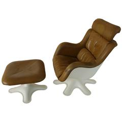 Yrjö Kukkapuro Chair and Ottoman Brown Leather over Molded Plastic