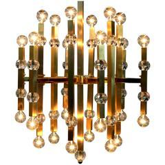 Striking Gaetano Sciolari Mid-Century Twenty-Four-Light Brass Chandelier