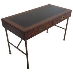 Mastercraft Brass Vintage Burl Wood Faux Bamboo Desk Campaign Hollywood Regency