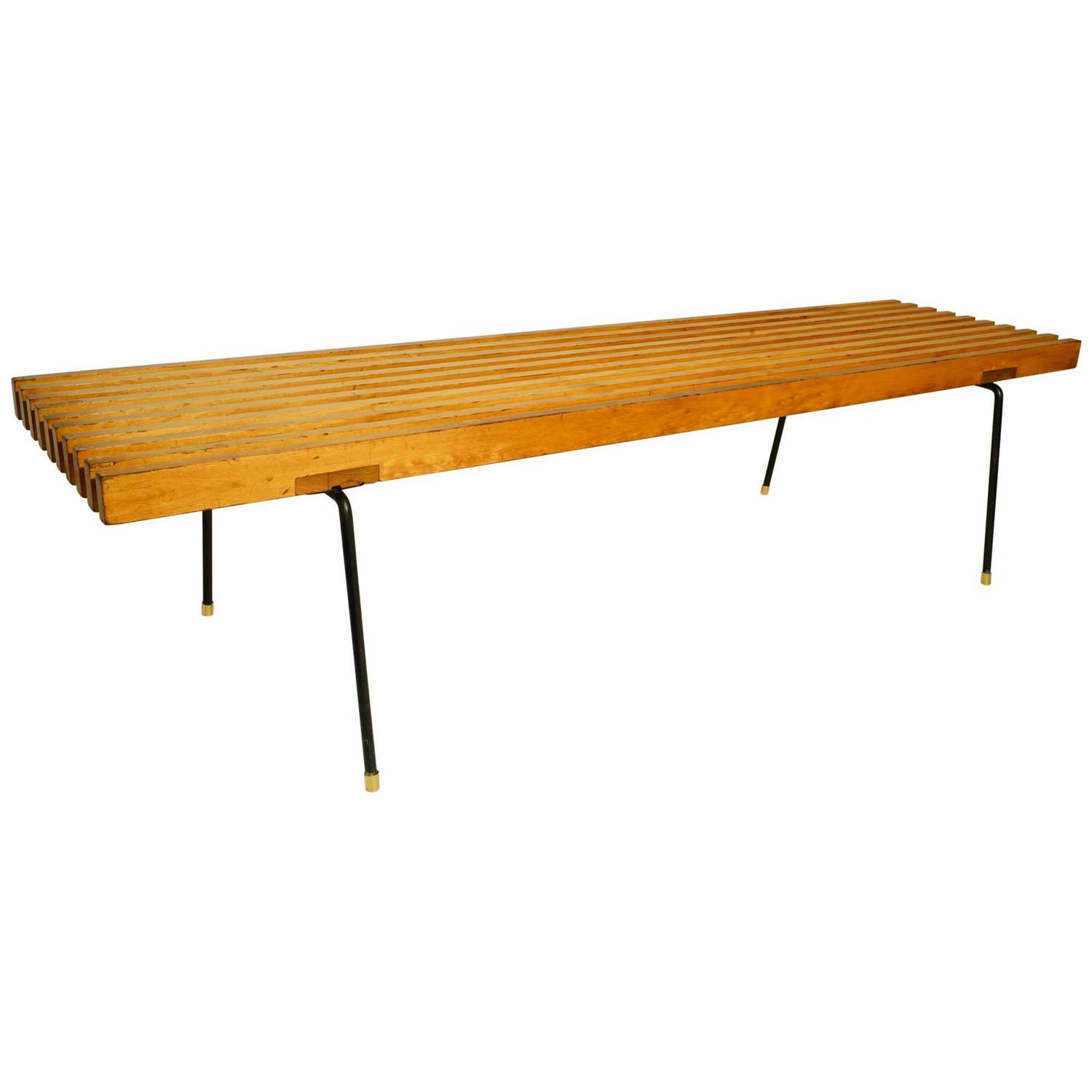 Early George Nelson Style Slat Bench At 1stdibs