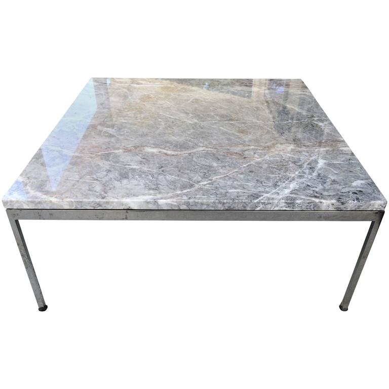 Sleek Chrome and Marble Coffee Table For Sale