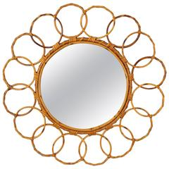 Mid-Century Bamboo Circular Mirror Framed with Rattan Circles