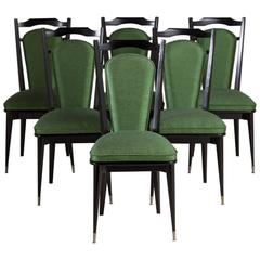 Set of Six Italian Ebonized Framed Dining Chairs, 1950s