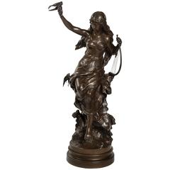 Woman with the Lyre Patinated Bronze by Mathurin Moreau, Signed, 19th Century