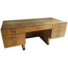 Vintage Scene Two Series Burled Ash Executive Desk by Henredon Furniture