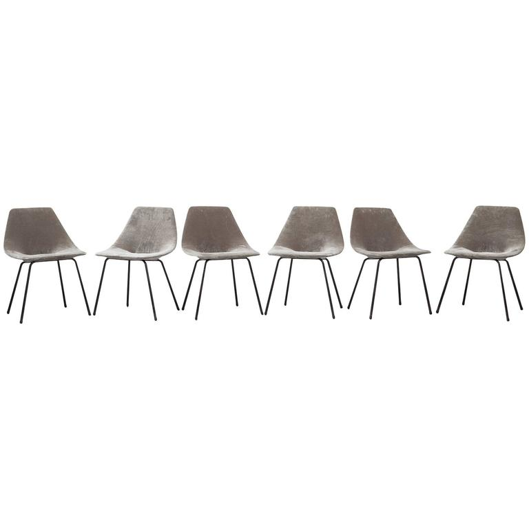 Set of Six Pierre Guariche Chairs * NEW UPHOLSTERY *