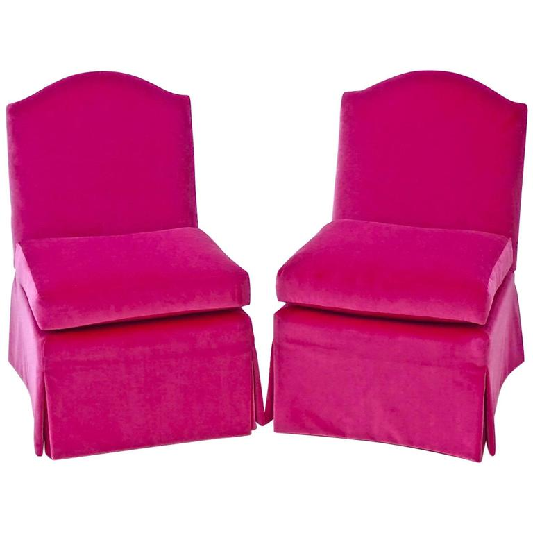 Classic Vintage Slipper Chairs (Pair) In Hot Pink Upholstery Fabric 1