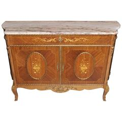 Antique French Empire Cabinet or Credenza Marquetry Inlay