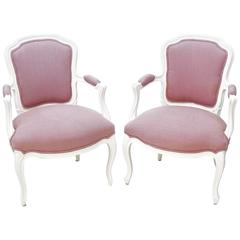 Vintage French Louis XV Style Armchairs (Pair)
