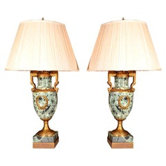 19th c Empire marble and bronze dore urn lamps