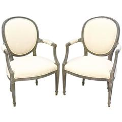 Rustic Linen Antique French Louis XV Style Armchairs