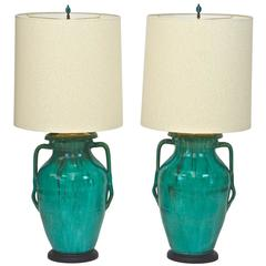 Vintage Italian Ceramic Urn Lamps (Pair)