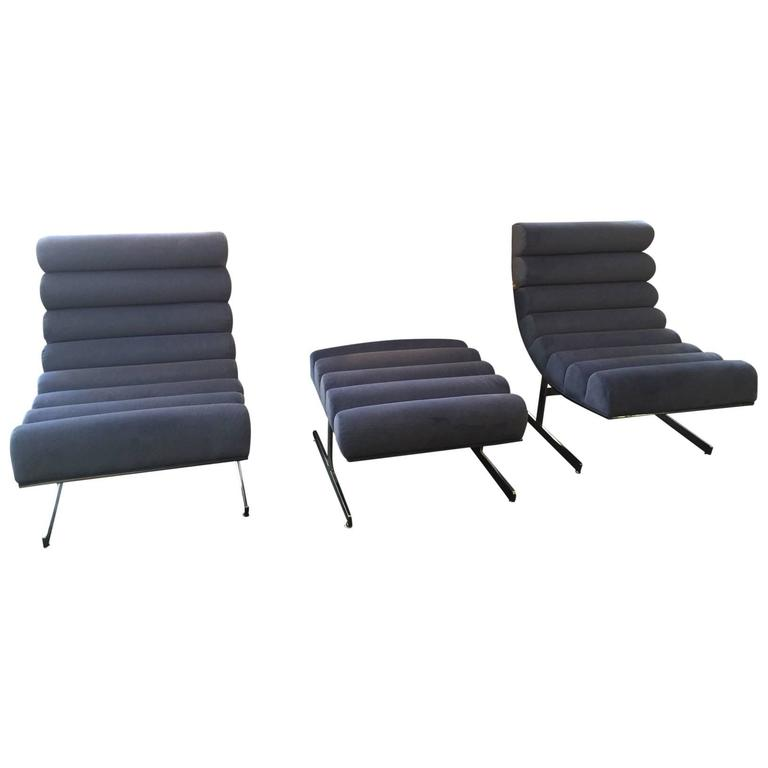 Kipp Stewart for Directional Pair of Lounge Chairs and Ottoman