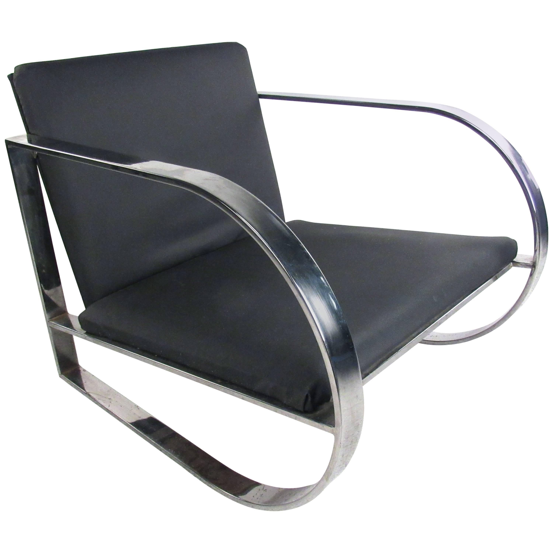 Vintage Modern Chrome Frame Lounge Chair