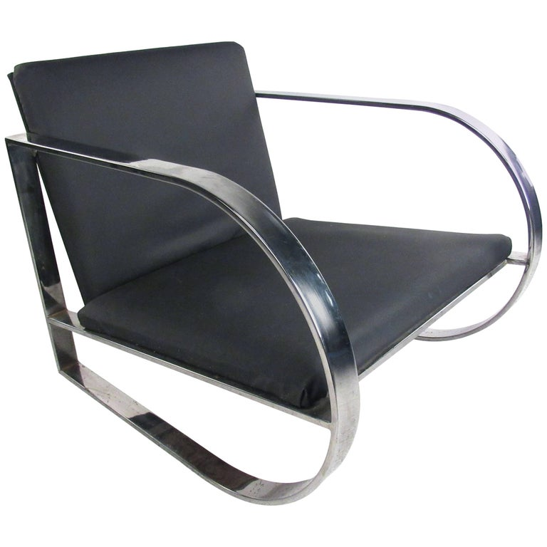 Vintage Modern Chrome Frame Lounge Chair For Sale