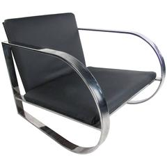 Vintage Modern Chrome Frame Lounge Chair