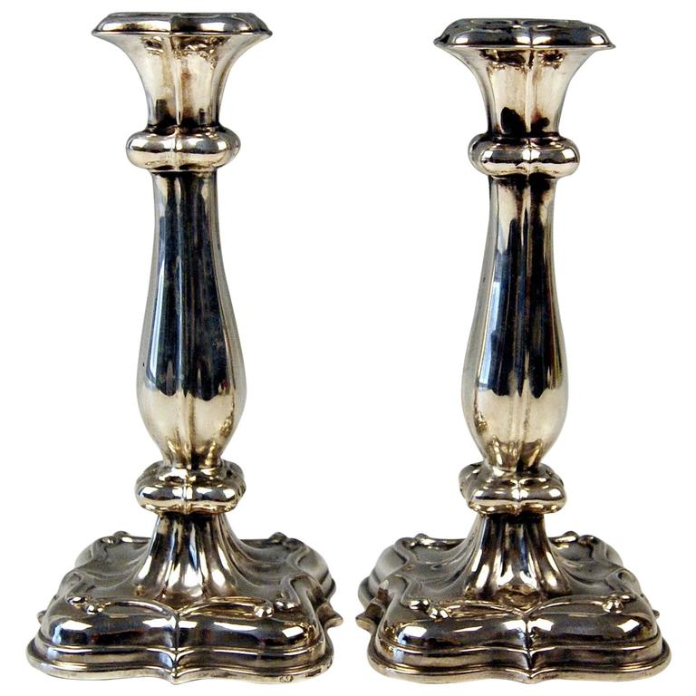 Silver 13 Lot Pair of Biedermeier Candlesticks Budapest Hungary Made 1840-1850 For Sale