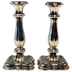 Silver 13 Lot Pair of Biedermeier Candlesticks Budapest Hungary Made 1840-1850