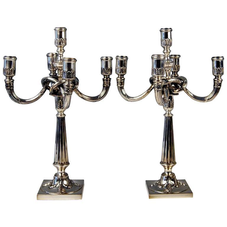 Silver German Pair of Candleholders Five Arms Koch and Bergfeld Bremen, c.1885