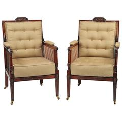 Pair of 19th Century Mahogany Caned Library Chairs