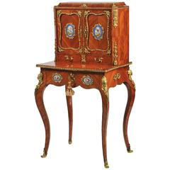 French Writing Table, Cabinet On Stand with Ormolu Mounts, Mid 19th Century