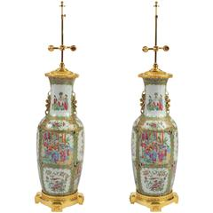 Pair of Late 19th Century Ormolu-Mounted Chinese Canton Vases