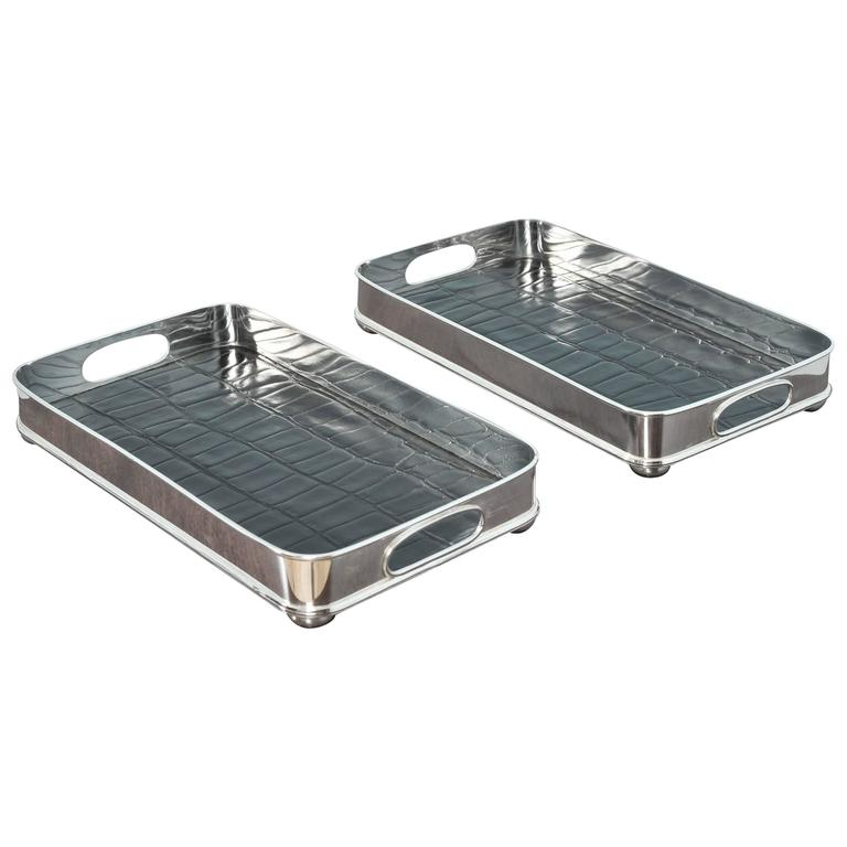 Pair of Nickel-Plated Serving Trays For Sale